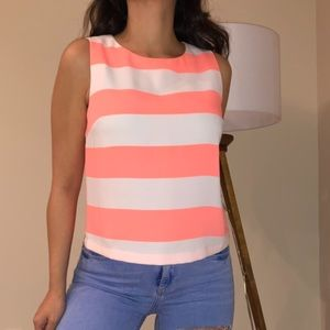 TOPSHOP Orange neon Striped top